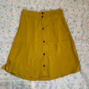 Mustard yellow A-line skirt